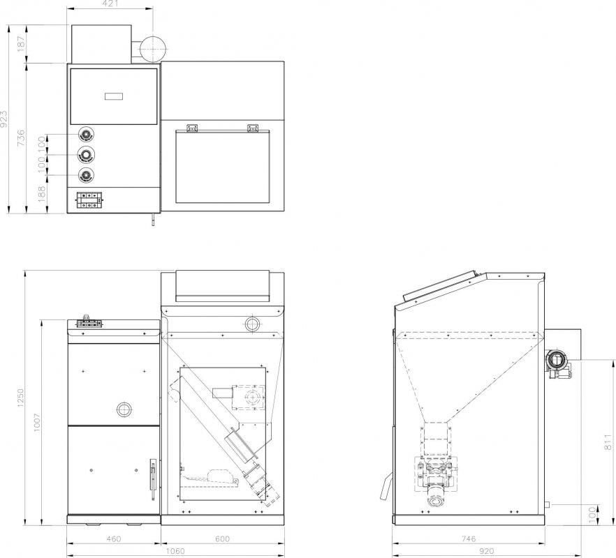 Габаритные и присоединительные размеры для котлов KRP-20