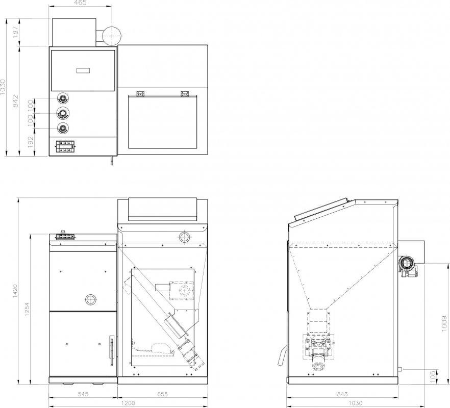 Габаритные и присоединительные размеры для котлов Китурами KRP-50PA
