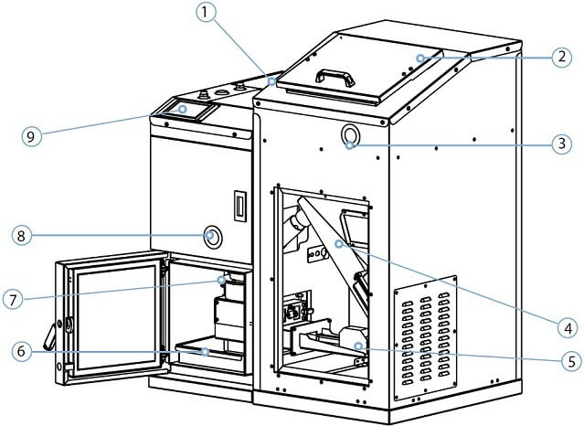 Схема пеллетного котла КИТУРАМИ KRP-20PA